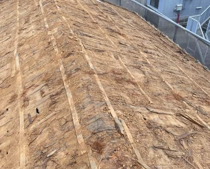 屋根 葺き土撤去